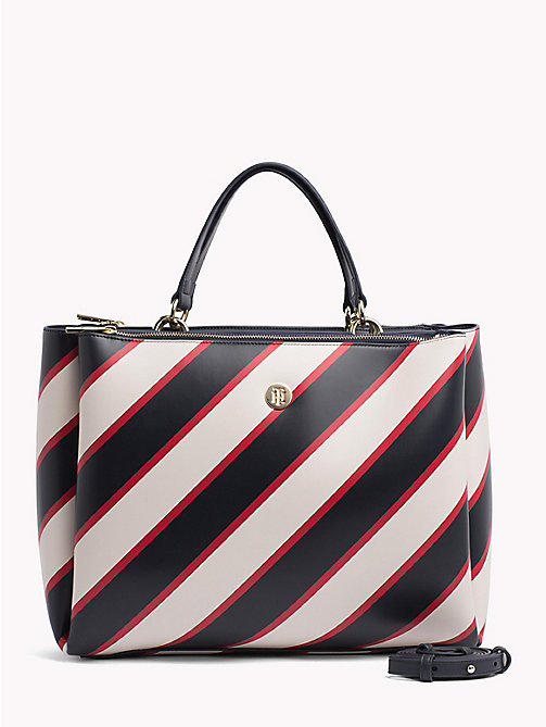 TOMMY HILFIGER Monogram Plaque Satchel - TIE STRIPES/ NAVY - TOMMY HILFIGER Satchel Bags - main image