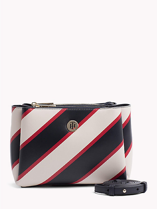 TOMMY HILFIGER Monogram Plaque Crossover Bag - TIE STRIPES/ NAVY - TOMMY HILFIGER Crossbody Bags - main image