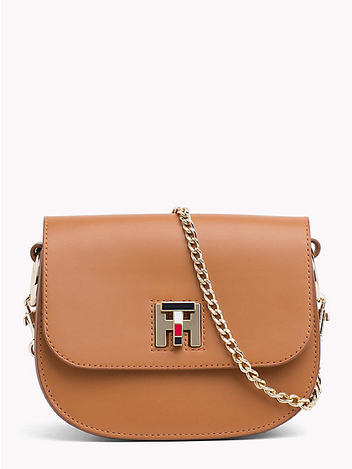 TOMMY HILFIGER TH Twist Leather Crossover Bag - COGNAC - TOMMY HILFIGER Crossbody Bags - main image