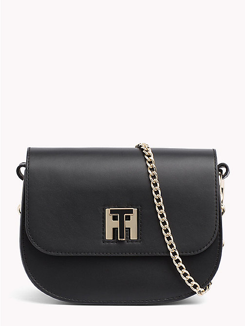 TOMMY HILFIGER TH leren crossbodytas met draaisluiting - BLACK/ JUNE BUG - TOMMY HILFIGER Crossbodytassen - main image