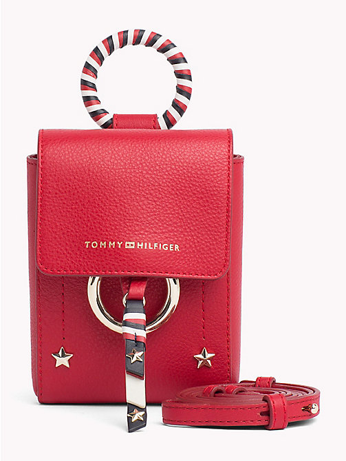 TOMMY HILFIGER Heritage Leather Mini Crossover Bag - TOMMY RED -  Bags & Accessories - main image