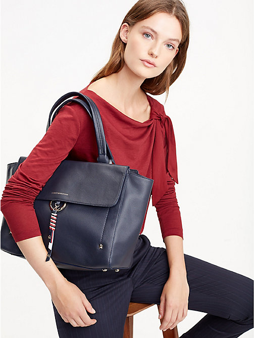 TOMMY HILFIGER Heritage Leather Satchel - TOMMY NAVY - TOMMY HILFIGER Something Special - detail image 1