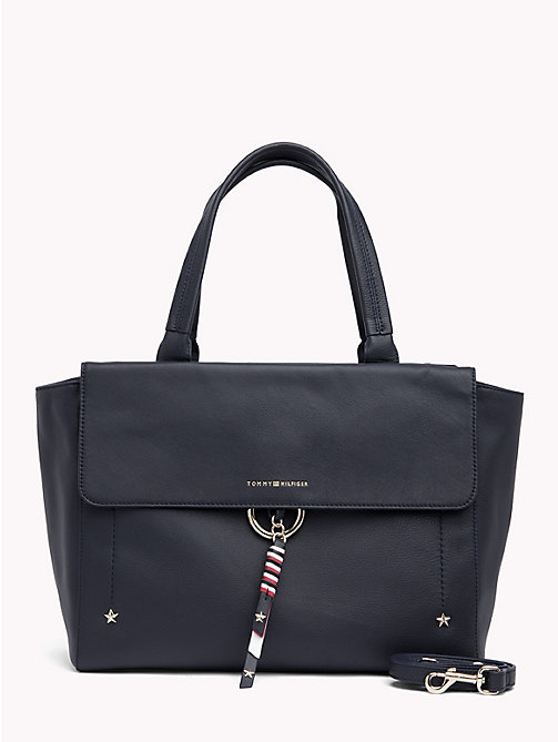 TOMMY HILFIGER Heritage Leather Satchel - TOMMY NAVY - TOMMY HILFIGER Satchel Bags - main image