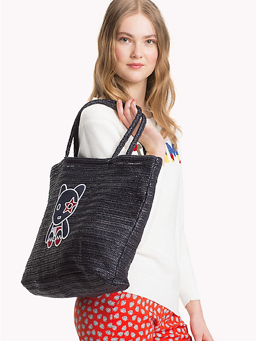 TOMMY HILFIGER Raffia Mascot Tote Bag - TOMMY NAVY - TOMMY HILFIGER VACATION FOR HER - detail image 1