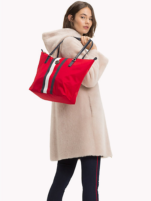 TOMMY HILFIGER Classic Zip-Up Stripe Tote - TOMMY RED/ CORP STRIPE - TOMMY HILFIGER Tote Bags - detail image 1