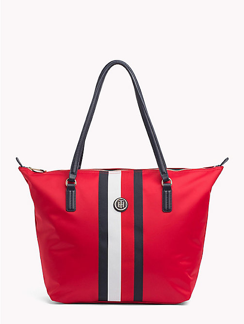 TOMMY HILFIGER Classic Zip-Up Stripe Tote - TOMMY RED/ CORP STRIPE - TOMMY HILFIGER Tote Bags - main image