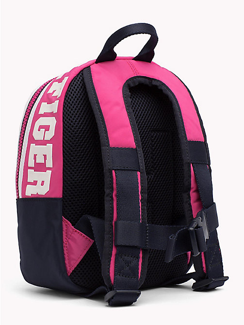 TOMMY HILFIGER TH Girls Varsity Backpack - PINK FLAMBE / TOMMY NAVY - TOMMY HILFIGER Shoes & Accessories - detail image 1