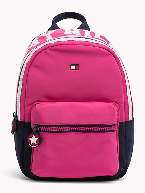 TOMMY HILFIGER TH Girls Varsity Backpack - PINK FLAMBE / TOMMY NAVY - TOMMY HILFIGER Shoes & Accessories - main image