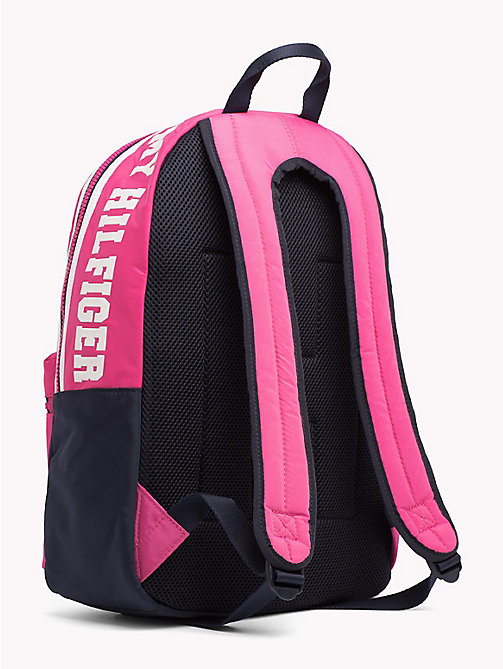 TOMMY HILFIGER Girls Varsity Backpack - PINK FLAMBE / TOMMY NAVY - TOMMY HILFIGER Shoes & Accessories - detail image 1