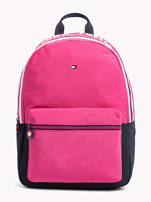 TOMMY HILFIGER Girls Varsity Backpack - PINK FLAMBE / TOMMY NAVY - TOMMY HILFIGER Shoes & Accessories - main image