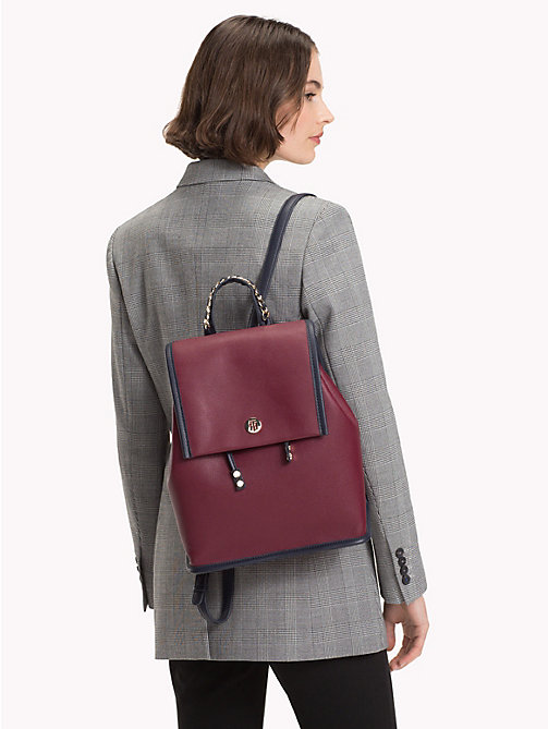 TOMMY HILFIGER Chain Handle Backpack - BURGUNDY/ TOMMY NAVY - TOMMY HILFIGER Backpacks - detail image 1