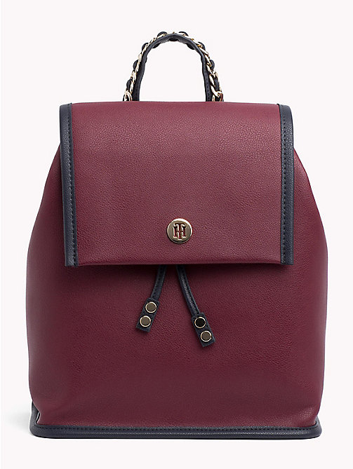 TOMMY HILFIGER Chain Handle Backpack - BURGUNDY/ TOMMY NAVY - TOMMY HILFIGER Bags & Accessories - main image