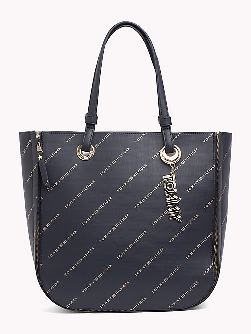 TOMMY HILFIGER Twist Tote - TOMMY NAVY/ GOLD LOGO - TOMMY HILFIGER The Office Edit - main image