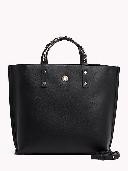 TOMMY HILFIGER Tote-Bag mit Ketten-Detail - BLACK - TOMMY HILFIGER Bags & Accessories - main image