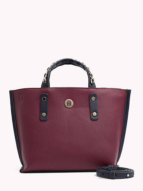 TOMMY HILFIGER Compact Chain Tote Bag - BURGUNDY/ TOMMY NAVY - TOMMY HILFIGER Tote Bags - main image