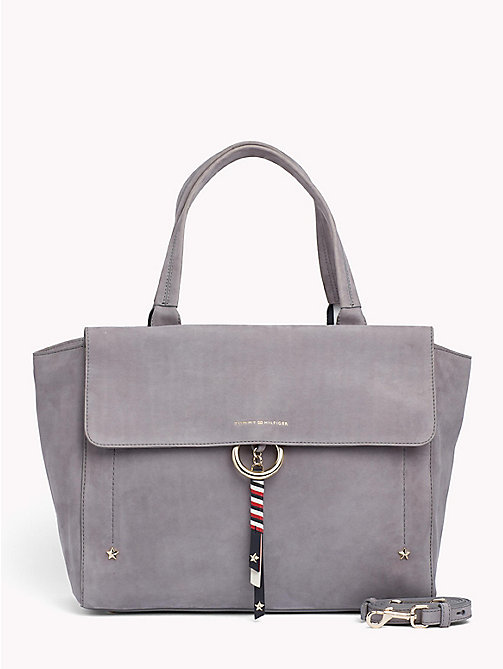 TOMMY HILFIGER Heritage Nubuck Leather Satchel - SILVER FILIGREE - TOMMY HILFIGER Satchel Bags - main image