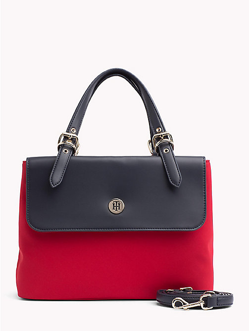 TOMMY HILFIGER Dressy Nylon Satchel - TOMMY RED/ TOMMY NAVY - TOMMY HILFIGER The Office Edit - main image