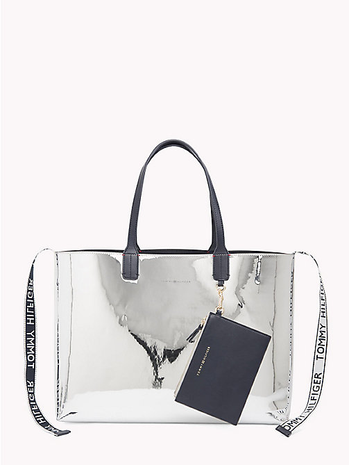 TOMMY HILFIGER Logo Tape Metallic Tote Bag - METALLIC/ TOMMY NAVY - TOMMY HILFIGER Bags & Accessories - main image