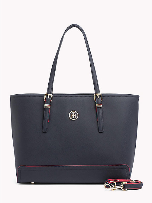 TOMMY HILFIGER Tote-Bag mit Monogramm - TOMMY NAVY/ RED EDGE PAINT - TOMMY HILFIGER Tote Bags - main image