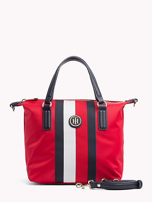 TOMMY HILFIGER Compact Stripe Tote Bag - TOMMY RED/ CORP STRIPE - TOMMY HILFIGER Tote Bags - main image