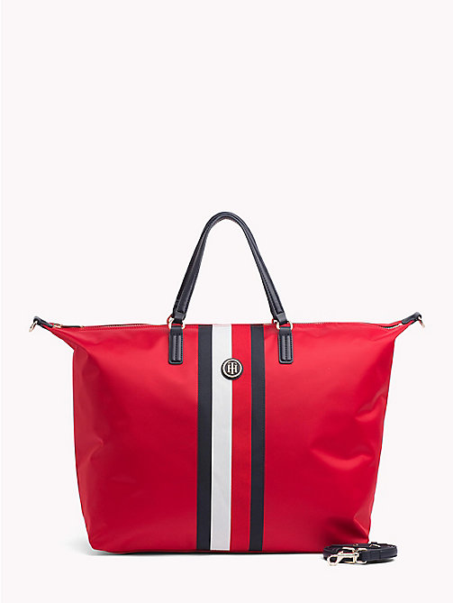 TOMMY HILFIGER Stripe Weekender Bag - TOMMY RED/ CORP STRIPE - TOMMY HILFIGER Signature stripes - main image