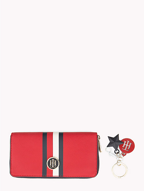 TOMMY HILFIGER Monogram Wallet and Key Fob Gift Set - TOMMY RED/ CORP STRIPE - TOMMY HILFIGER Stocking Stuffers - main image