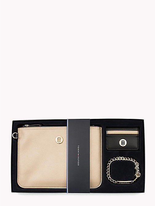 TOMMY HILFIGER Chain Pouch Gift Set - GOLD/ BLACK - TOMMY HILFIGER Wallets & Keyrings - main image