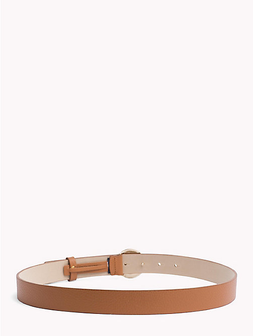 TOMMY HILFIGER Round Buckle Leather Belt - DARK TAN - TOMMY HILFIGER Belts - detail image 1