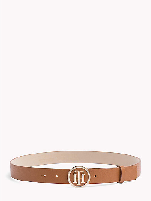 TOMMY HILFIGER Round Buckle Leather Belt - DARK TAN - TOMMY HILFIGER Belts - main image