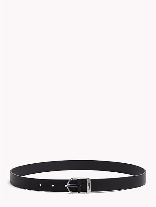 TOMMY JEANS Flag Buckle Leather Belt - BLACK - TOMMY JEANS Belts - main image