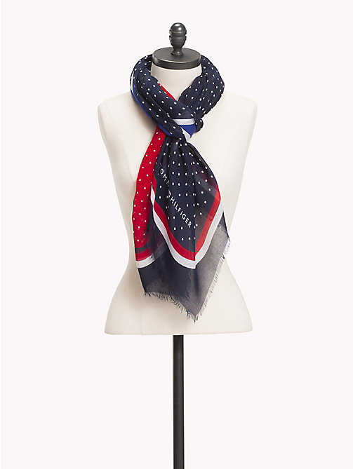 TOMMY HILFIGER Dot Print Square Scarf - CORPORATE - TOMMY HILFIGER The Office Edit - main image