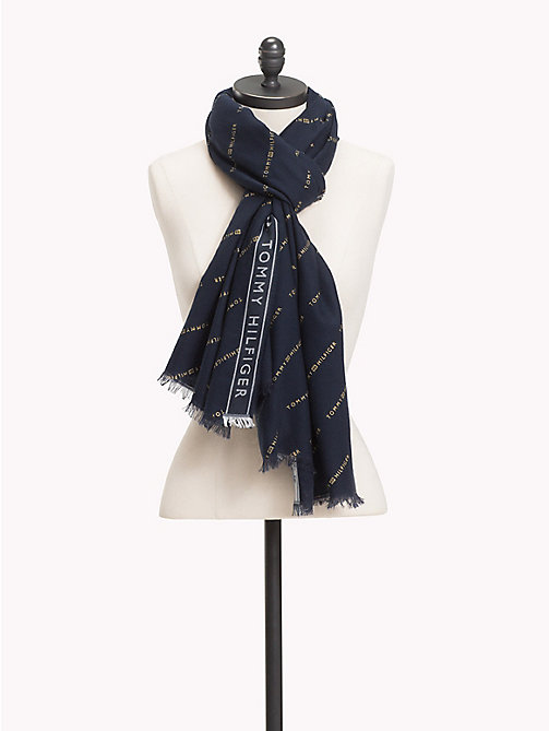 Logo Selvedge Scarf - TOMMY NAVY - TOMMY HILFIGER Scarves - main image
