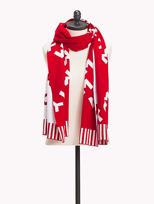 TOMMY HILFIGER Reversible Logo Knit Scarf - TOMMY RED -  Bags & Accessories - main image