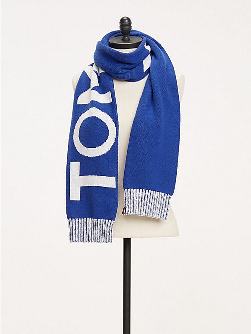 TOMMY HILFIGER Logo Knit Scarf - MAZARINE BLUE - TOMMY HILFIGER Winter Warmers - main image