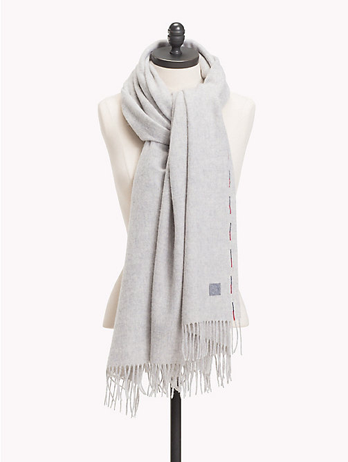 TOMMY HILFIGER Fringed Wool Scarf - MID GREY HTR - TOMMY HILFIGER Bags & Accessories - main image
