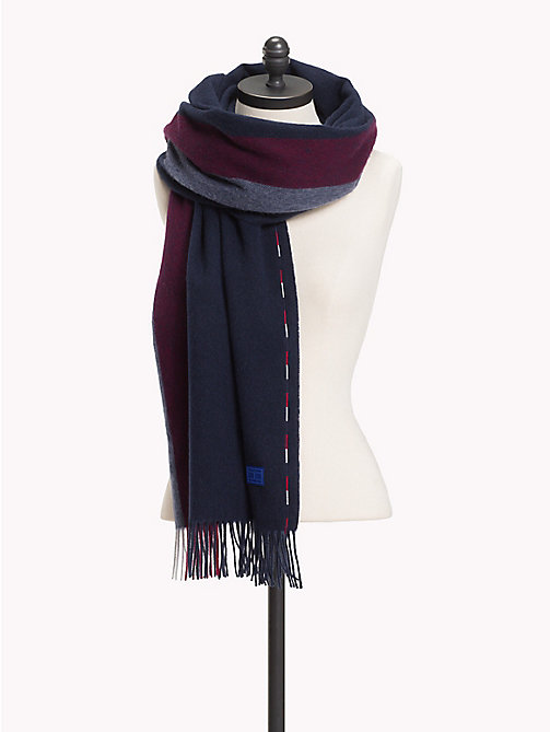 TOMMY HILFIGER Fringed Wool Scarf - TOMMY NAVY - TOMMY HILFIGER Bags & Accessories - main image