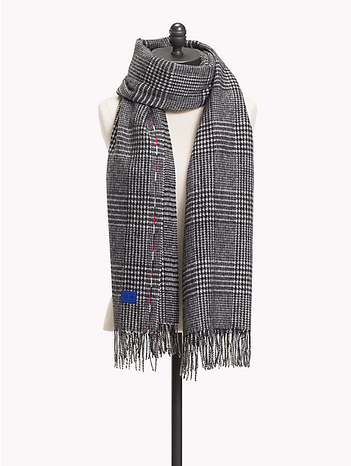 TOMMY HILFIGER Fringed Wool Scarf - POW CHECK - TOMMY HILFIGER NEW IN - main image
