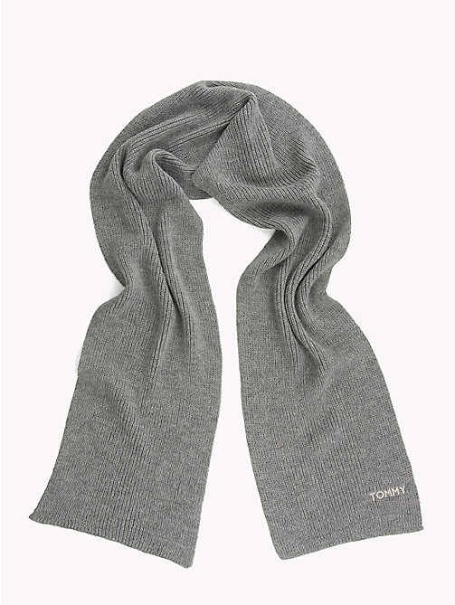 TOMMY HILFIGER Mohair Blend Knit Scarf - LIGHT GREY HEATHER - TOMMY HILFIGER Scarves - detail image 1