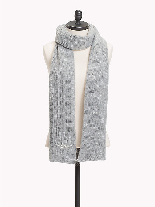 TOMMY HILFIGER Mohair Blend Knit Scarf - LIGHT GREY HEATHER - TOMMY HILFIGER Scarves - main image