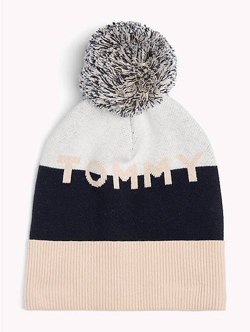 TOMMY HILFIGER Colour-Blocked Knitted Hat - GOLD MIX - TOMMY HILFIGER Bags & Accessories - main image