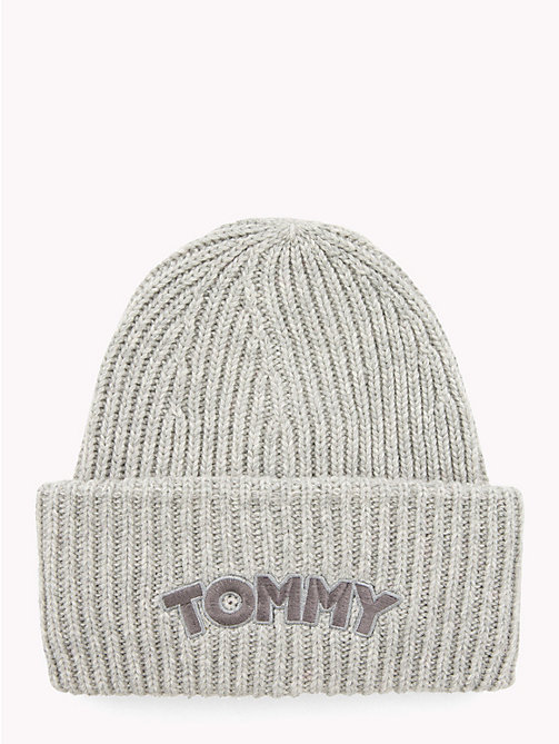 TOMMY HILFIGER Logo Patch Beanie Hat - LIGHT GREY HEATHER - TOMMY HILFIGER Winter Warmers - main image