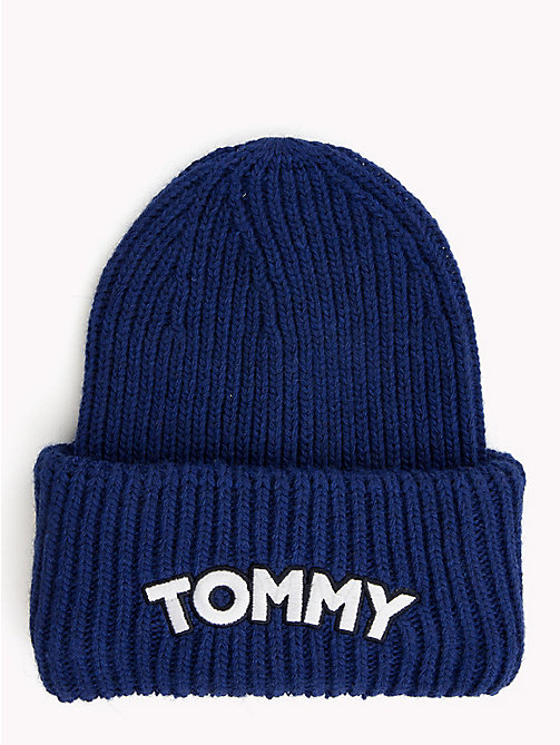 TOMMY HILFIGER Logo Patch Beanie Hat - MAZARINE BLUE - TOMMY HILFIGER NEW IN - main image