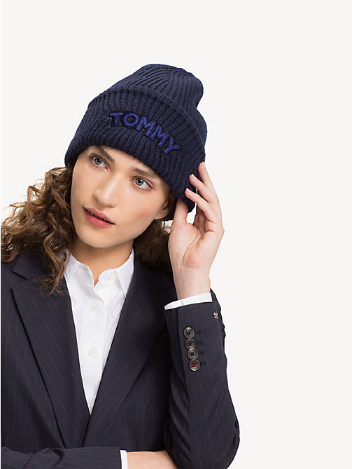 TOMMY HILFIGER Logo Patch Beanie Hat - TOMMY NAVY - TOMMY HILFIGER Bags & Accessories - detail image 1