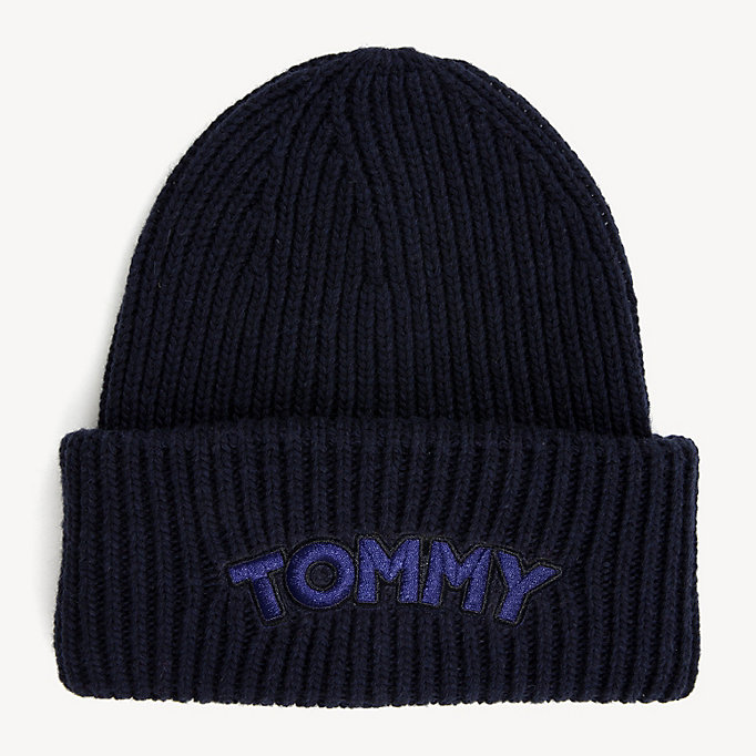 logo patch beanie hat tommy hilfiger official website