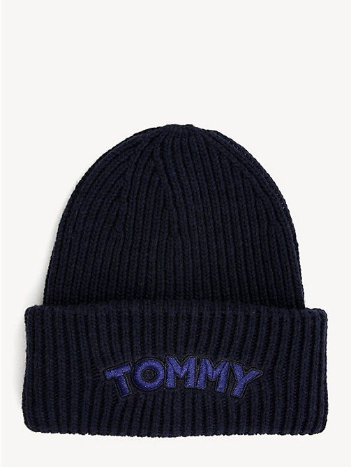 TOMMY HILFIGER Logo Patch Beanie Hat - TOMMY NAVY - TOMMY HILFIGER Bags & Accessories - main image