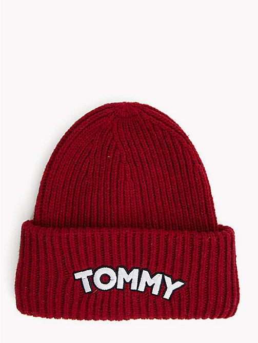 TOMMY HILFIGER Logo Patch Beanie Hat - TOMMY RED - TOMMY HILFIGER Caps & Beanies - main image
