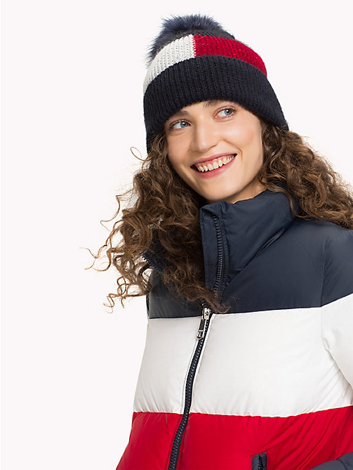 TOMMY HILFIGER Fluffy Colour-Blocked Beanie Hat - CORPORATE - TOMMY HILFIGER Hats - detail image 1