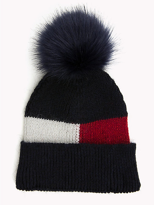 TOMMY HILFIGER Fluffy Colour-Blocked Beanie Hat - CORPORATE - TOMMY HILFIGER Caps & Beanies - main image