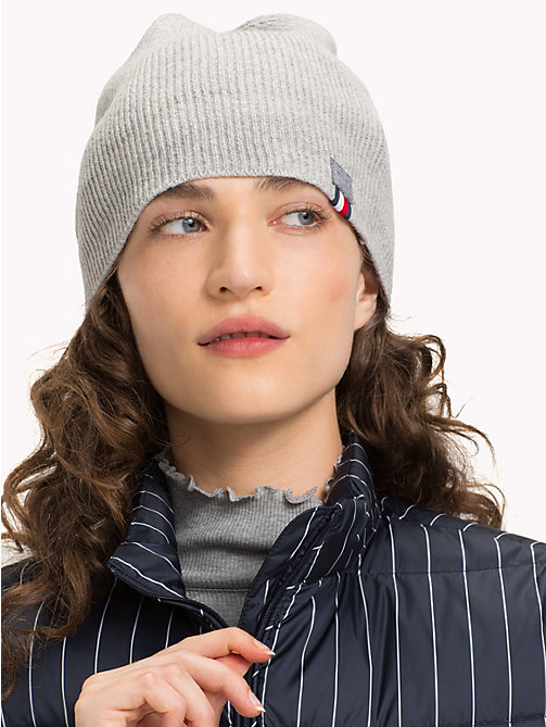 TOMMY HILFIGER Flag Beanie Hat - LIGHT GREY HEATHER - TOMMY HILFIGER Caps & Beanies - detail image 1