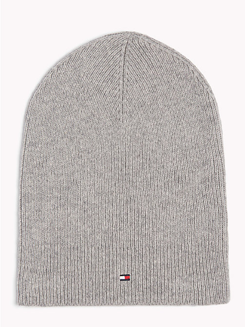 TOMMY HILFIGER Flag Beanie Hat - LIGHT GREY HEATHER - TOMMY HILFIGER Caps & Beanies - main image